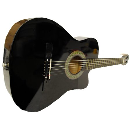 Full Size Acoustic Country/Bluegrass Cutaway Guitar with Gig Bag - Black