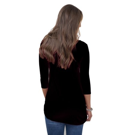 YJ529 Women T-shirt Round Collar Three-quarter Sleeve Tops with Button Decor - image 3 of 7
