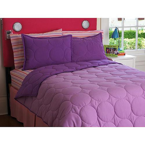 Idea Nuova Your Zone Reversible Comforter And Sham Set, Purple Berry / iris Size