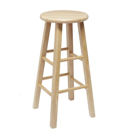 Mainstays 24 Fully Embled Natural Wood Barstool