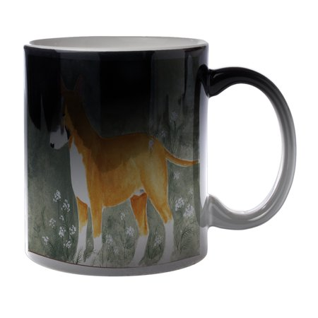 KuzmarK Black Heat Morph Color Changing Coffee Cup Mug 11 Ounce - Colored Bull Terrier with Queen Anne's Lace Dog Art by Denise