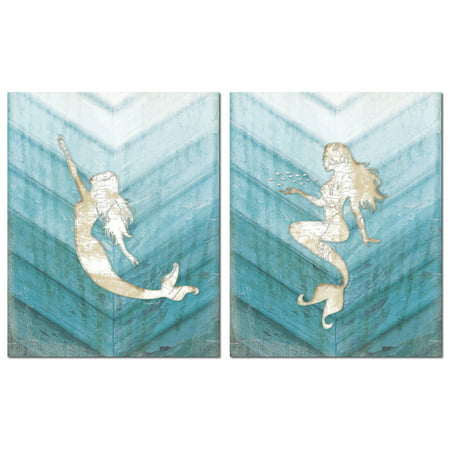 Beautiful Popular Nautical Ombre Teal And Cream Mermaid Map Set  Coastal Decor  Two 11X14in Poster Prints