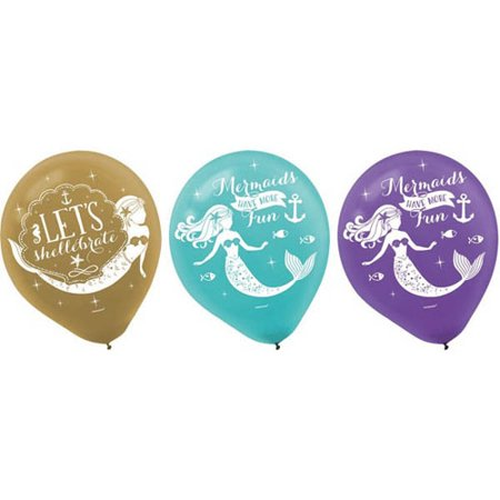 Mermaid 'Mermaid Wishes' Latex Balloons (6ct) - Latex Mermaid