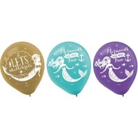 Mermaid 'Mermaid Wishes' Latex Balloons (6ct)