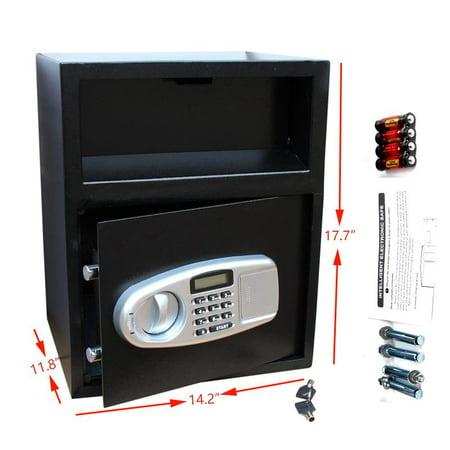 ZOKOP Digital Safe Box Depository Drop Deposit Front Load Cash Money Vault Lock Home Front 3 Pos Lock