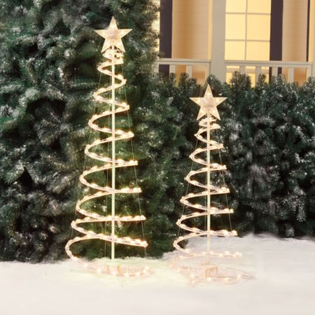 Holiday time lighted spiral christmas tree sculptures clear lights holiday time lighted spiral christmas tree sculptures clear lights 2 pack aloadofball Choice Image
