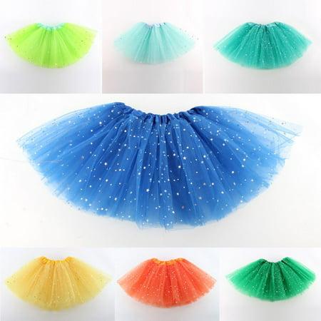 Star Sequins Girls Kid Child Princess Tutu Skirt Ballet Wear Dance Dress Clothes (Long Tutus For Girls)