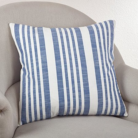 Fennco Styles 20-inch Nautical Striped Down Filled Throw Pillow, 3 Colors (French Blue)