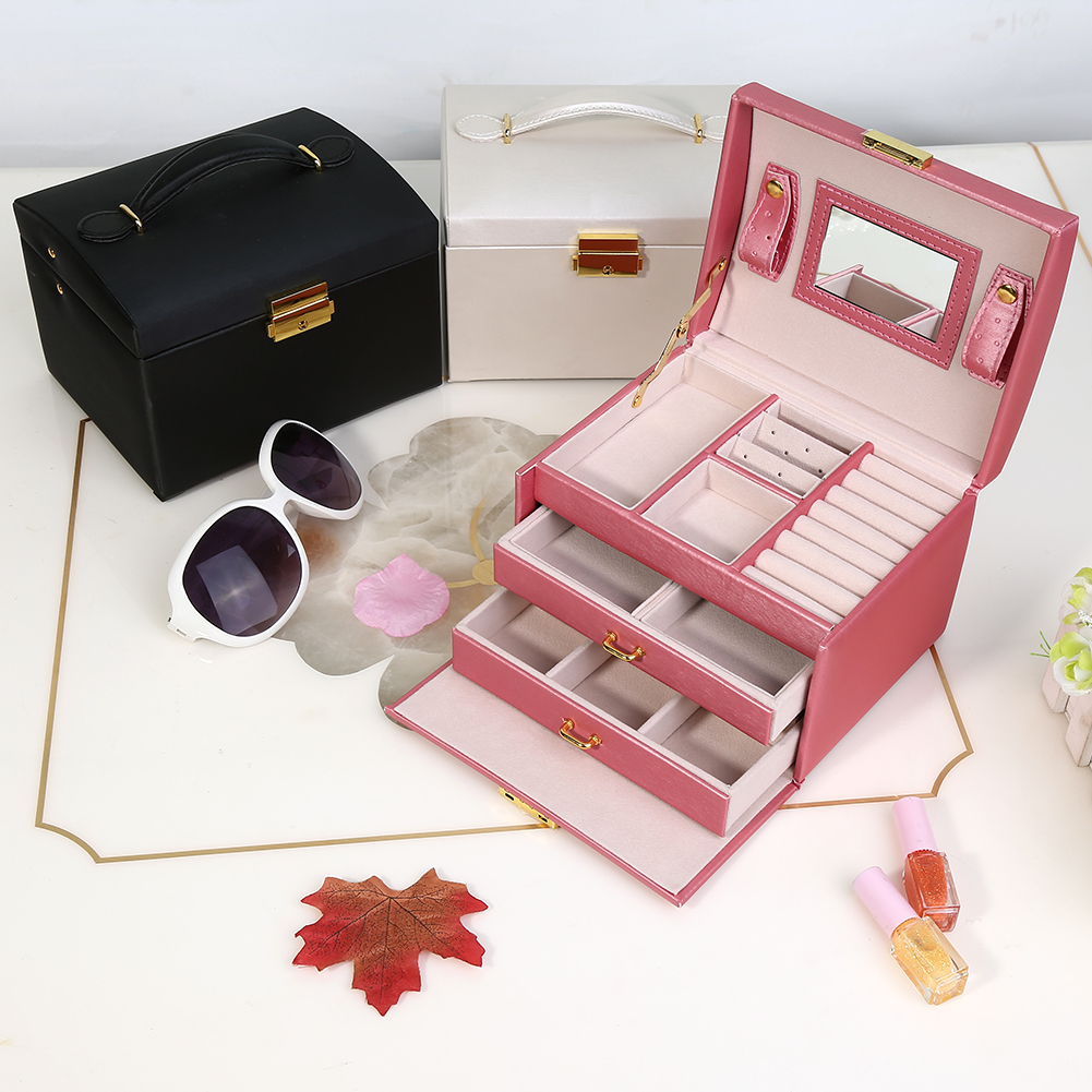 Qiilu Jewelry Organizer Box Three Layer Jewelry Storage Organizer