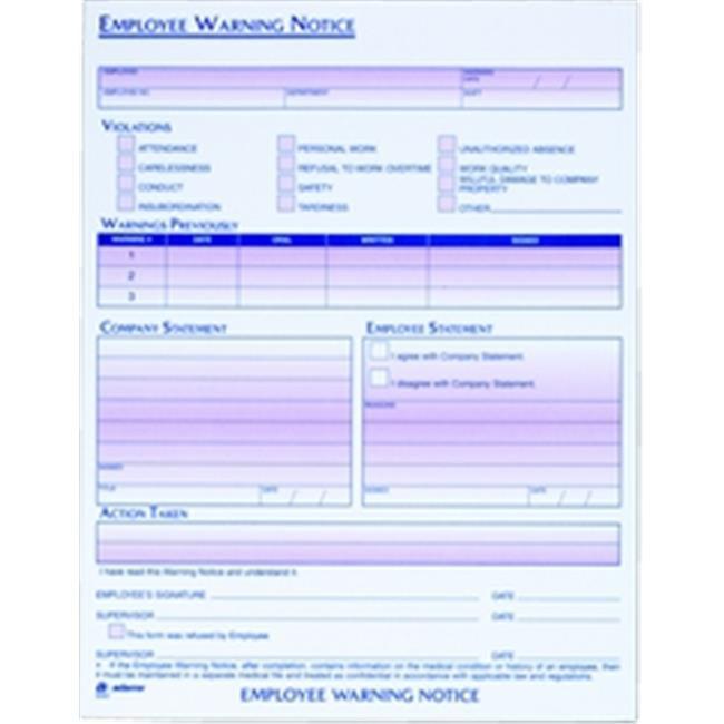 Adams 9060 Employee Warning Notice  2 per PK