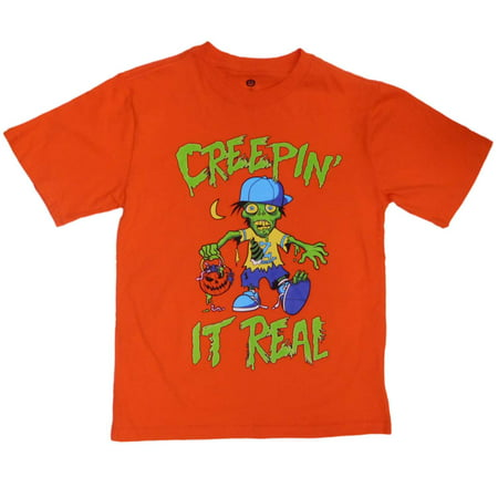 Zombies In Real Life Halloween Prank (Boys Orange Creepin' It Real Trick-Or-Treat Zombie T-Shirt)