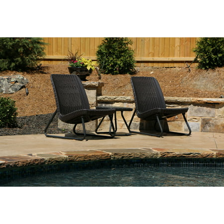 Keter Rio Resin 3-Piece Conversation Set, All-Weather Plastic Patio Lounge Furniture, Brown Rattan ()