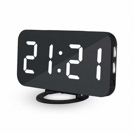 VicTsing Digital Alarm Clock Stylish LED Clock with 2 USB Ports Huge Display Brightness Adjustment Easy-Read LED Display Diming Mode Easy Snooze Function Mirror Surface (White)