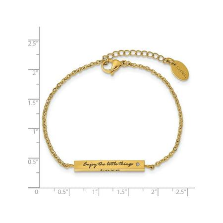 Stainless Steel IP-plated Yellow CZ Enjoy the little w/1.5in ext Bar Bracel - image 5 de 6