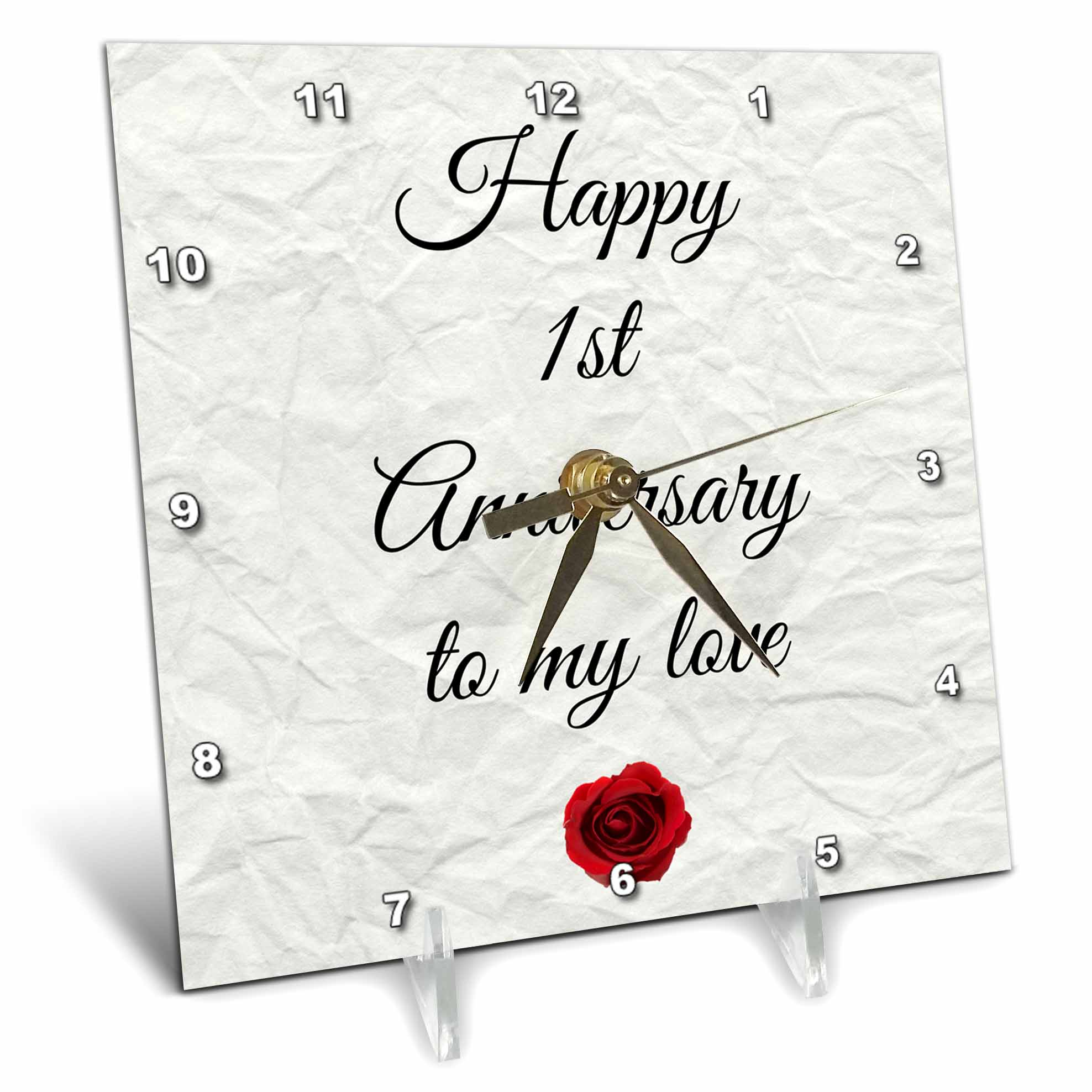 3dRose Happy 1st Anniversary to my love on faux paper-like background, Desk Clock, 6 by 6-inch by 3dRose