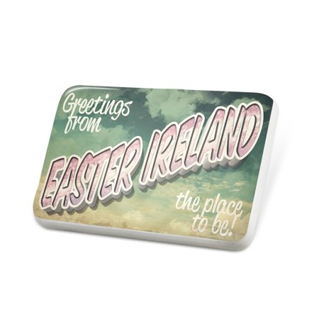 (Porcelein Pin Greetings from Easter Ireland, Vintage Postcard Lapel Badge – NEONBLOND)