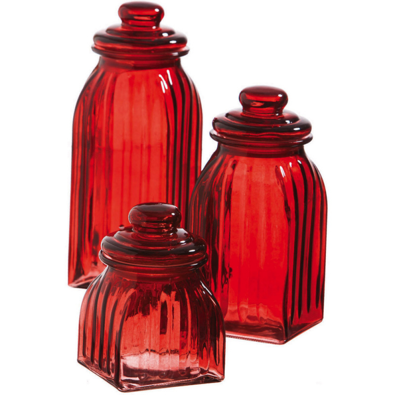 Kitchenware, Glass Jar Set of 3, Red