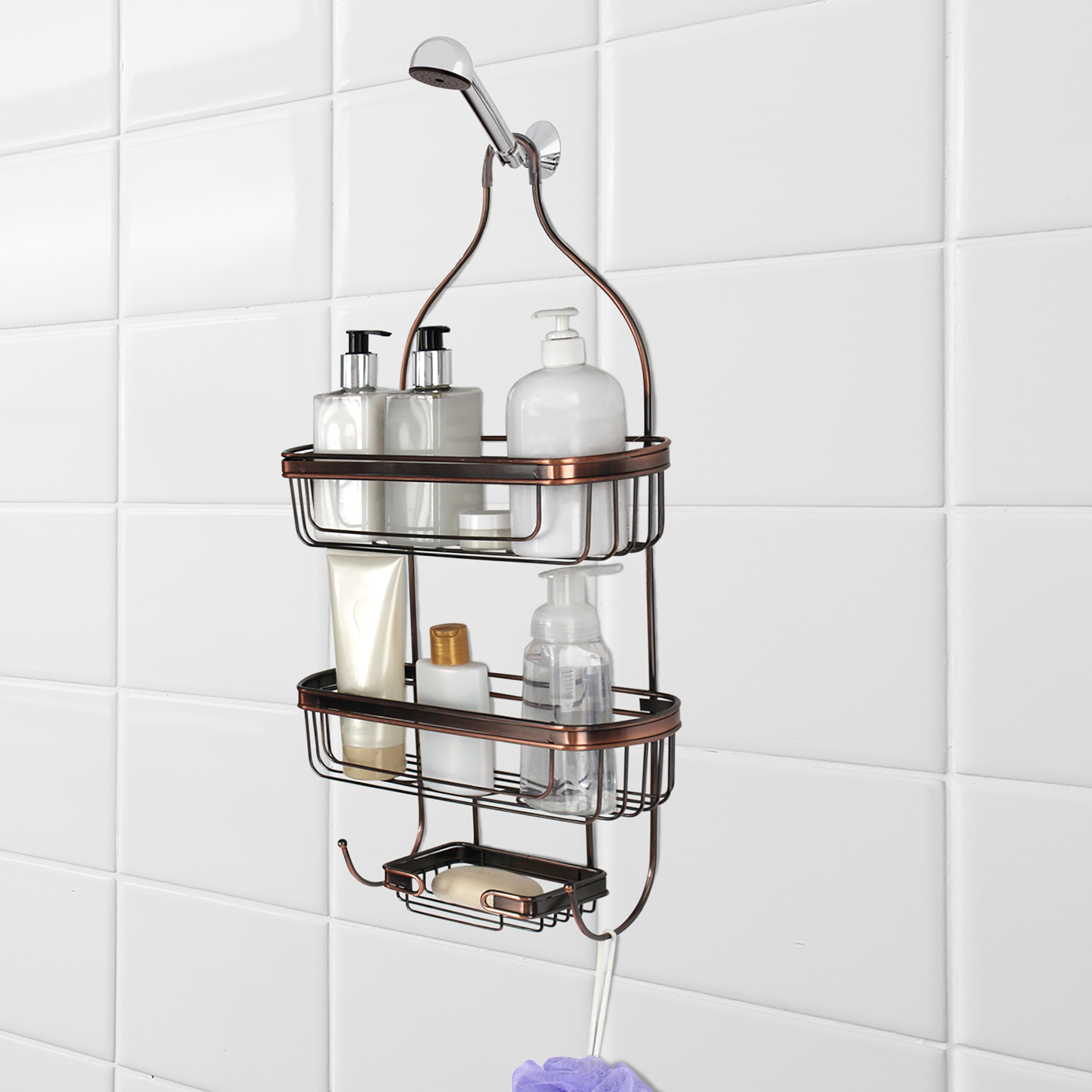 Splash Home Shower Caddy Bathroom Hanging Head Two Basket Organizers Plus Dish for Storage Shelves for Shampoo, Conditioner and Soap - OIL RUBBED BRONZE