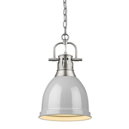 Duncan Small Pendant with Chain in Pewter with a Gray Shade