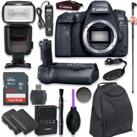Canon EOS 6D Mark II Digital SLR Camera Body - Wi-Fi Enabled with Pro Camera Battery Grip, Professional TTL Flash, Deluxe Backpack 200EG, Universal Timer Remote Control, Spare LP-E6 Battery (16 (D-bg2 Battery Grip)