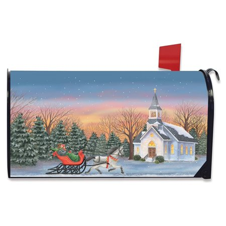 One Horse Open Sleigh Christmas Magnetic Mailbox Cover Winter Church Standard