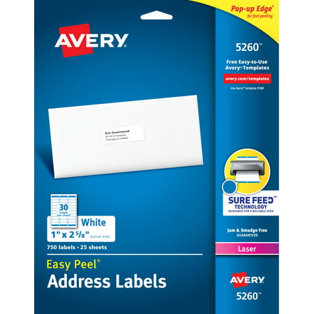 "Avery Easy Peel Address Labels, 1"" x 2-5/8"", 750 Labels (5260)"