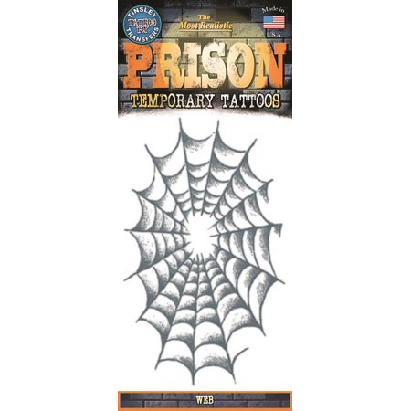Tinsley Transfers Web Prison Temporary Tattoo FX, Black (Black And White Tattoos With Pops Of Color)