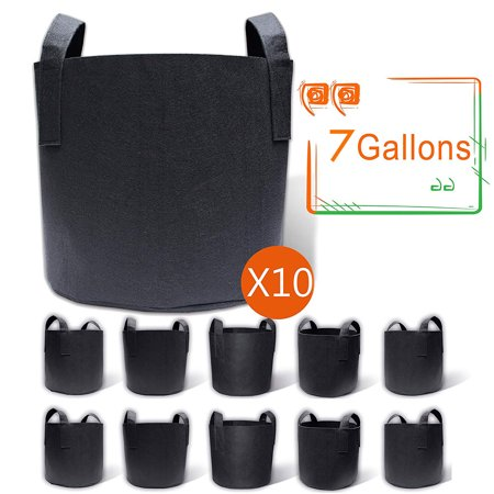 10-Pack 7 Gallon Flower Vegetables Grow Bags, Fabric Planter Pots for Tomatoes Potatoes Carrots Aeration Fabric Pots with