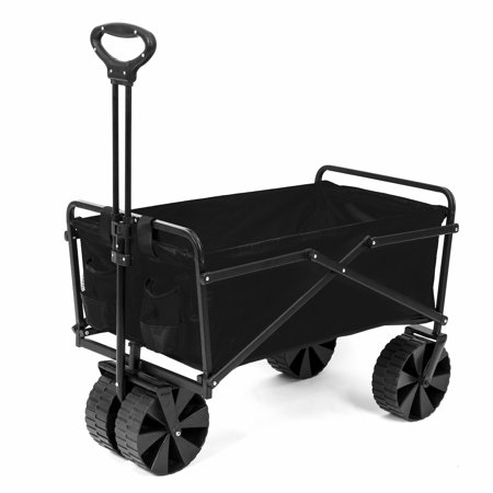 Seina Manual 150 Pound Capacity Folding Utility Beach Wagon Outdoor Cart, Black
