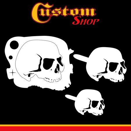 Custom Shop Airbrush Stencil Skull Design Set #5 - 3 Laser Cut Reusable Templates - Auto, Motorcycle Graphic Art