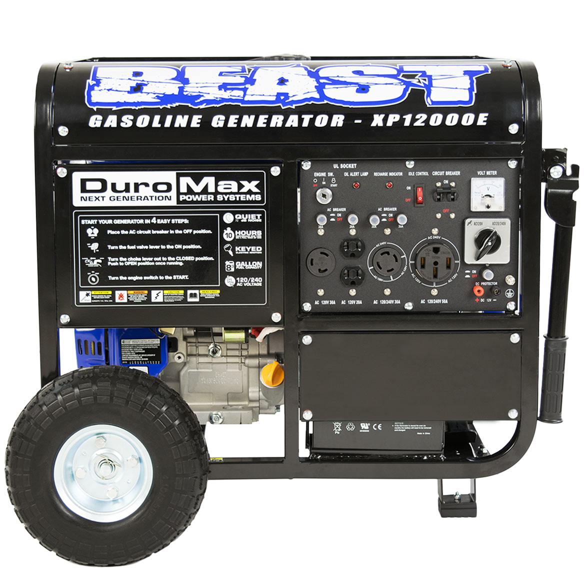 DuroMax XP12000E 12000 Watt Portable Gas Electric Start Generator - Home Standby