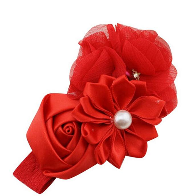 Outtop Baby Girl Flower Pearl Flower Hair Band Headband Hairband Hair Accessories