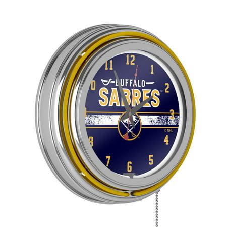 NHL Chrome Double Rung Neon Clock - Buffalo Sabres�