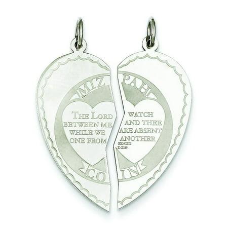 Sterling Silver Mizpah Heart Charm