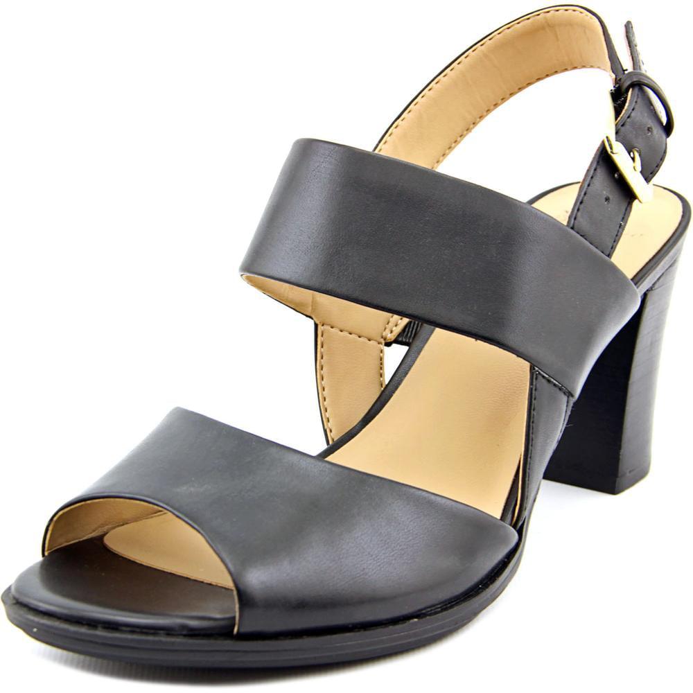 Naturalizer Lahnny Women Open-Toe Leather Black Slingback Sandal by Naturalizer