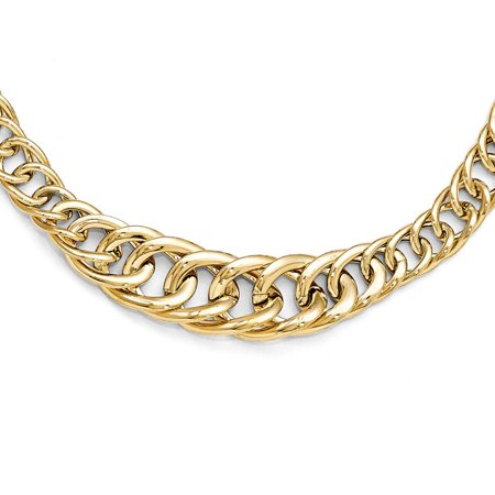 Graduated Curb Link (Italian Graduated Fancy Curb Link Necklace in 14k Yellow Gold, 18 in)