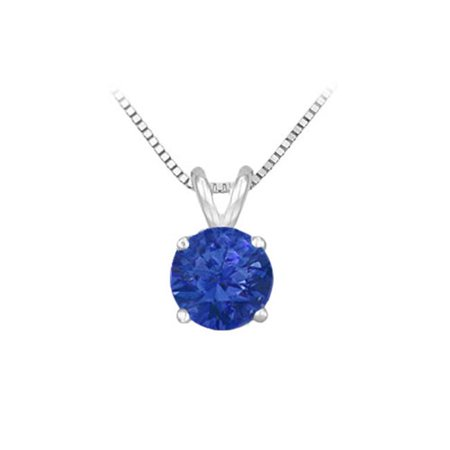 14K White Gold Prong Set Natural Sapphire Solitaire Pendant 1 CT TGW Gold 0.05 Ct Natural
