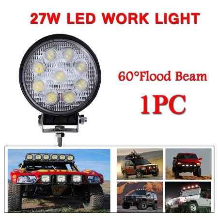GZYF 1PC 27W LED Work Light Lamp Bar Round Flood Beam Offroad for Truck Car Boat SUV 4WD UTE ATV 4X4 12V (Atv Roll Bar)