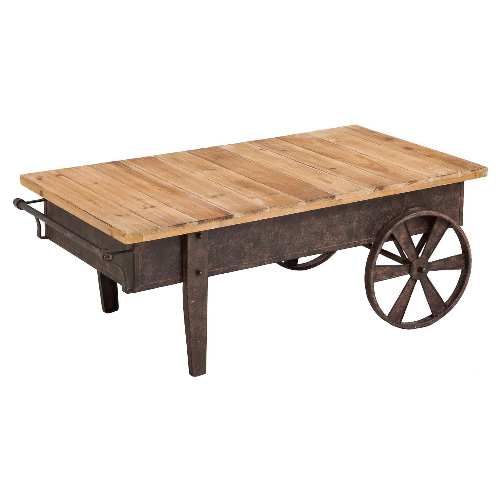 Evergreen Enterprises Vintage Wood Plank and Metal Cart