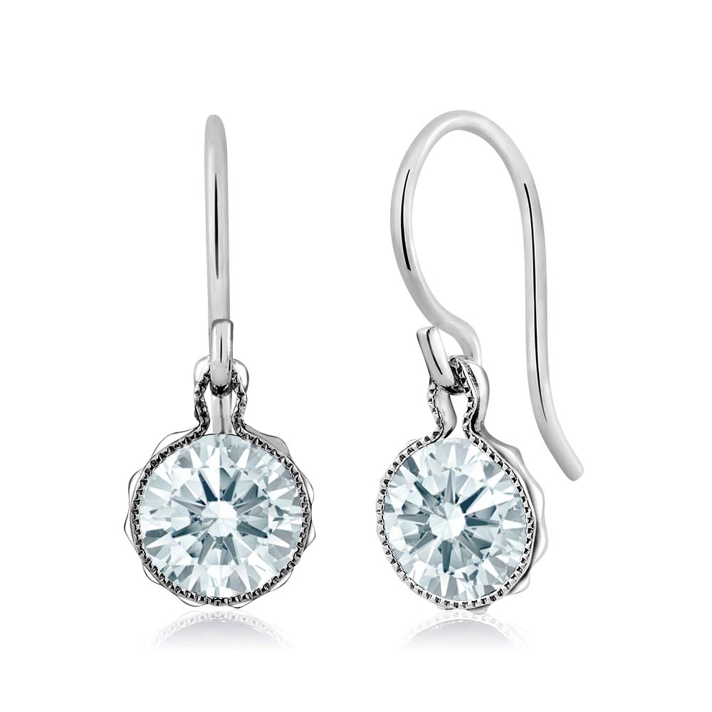 1.68 Ct White 925 Sterling Silver Dangle Earrings Made With Swarovski Zirconia
