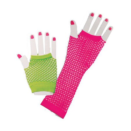 Neon Fishnet 80s Gloves - 80s Costume Jewelry
