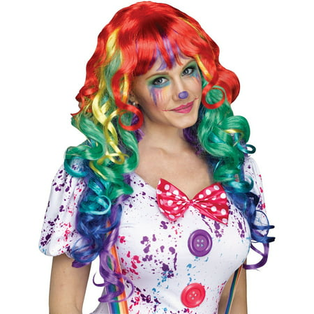 Rainbow Clown Wig with Bangs - Conehead Wig