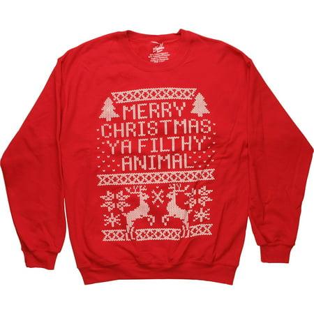holiday freeze mens merry christmas filthy animal crew neck sweatshirt walmartcom