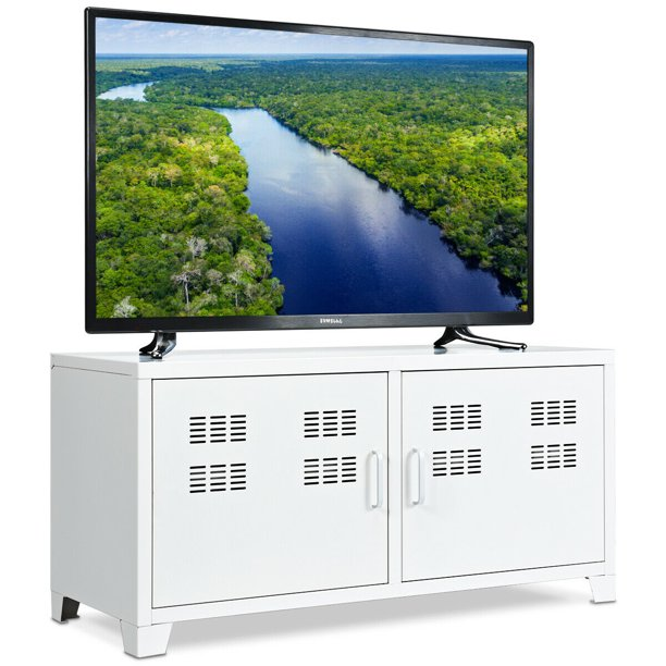 Gymax Entertainment Center TV Stand Two Doors Media Console Cabinet For TV up to 40''