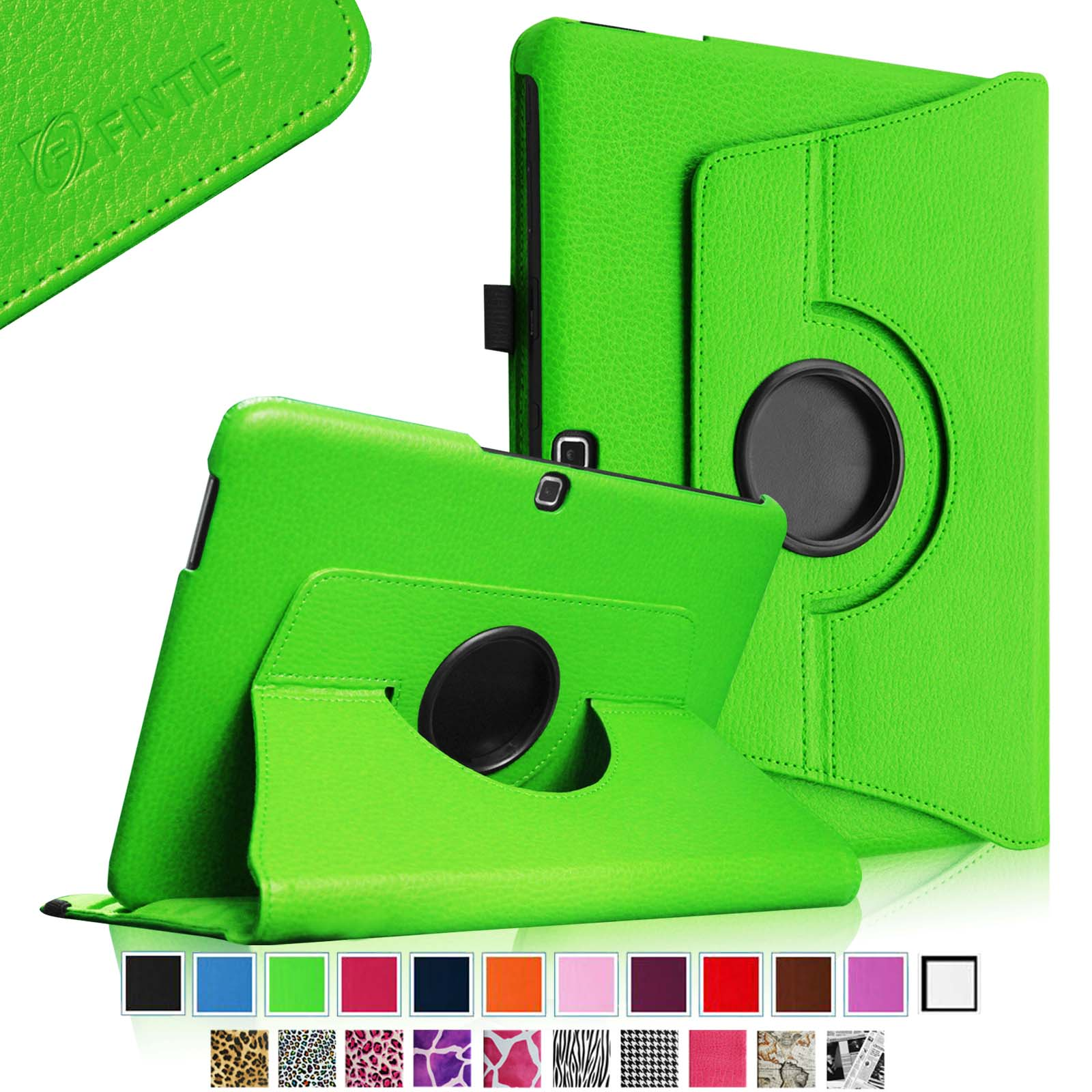 Fintie Samsung Galaxy Tab 4 10.1 inch Tablet Rotating Case - 360 Degree Rotating PU Leather Stand Cover, Green