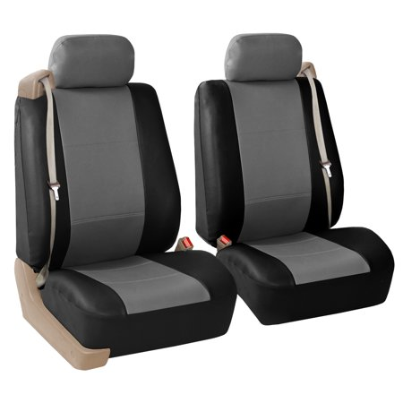 FH Group Integrated Seatbelt Seat Covers for Sedan, SUV, Van, Truck, Two Front Buckets, Black Gray ()