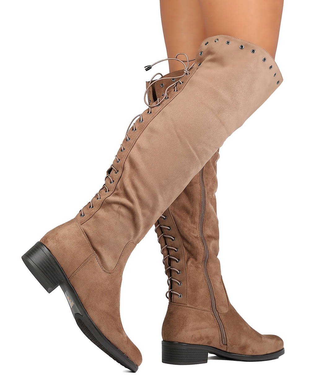 ae1787963bbc Betani - Betani FG44 Women Faux Suede Knee High Back Lace Up Riding Boot -  Walmart.com