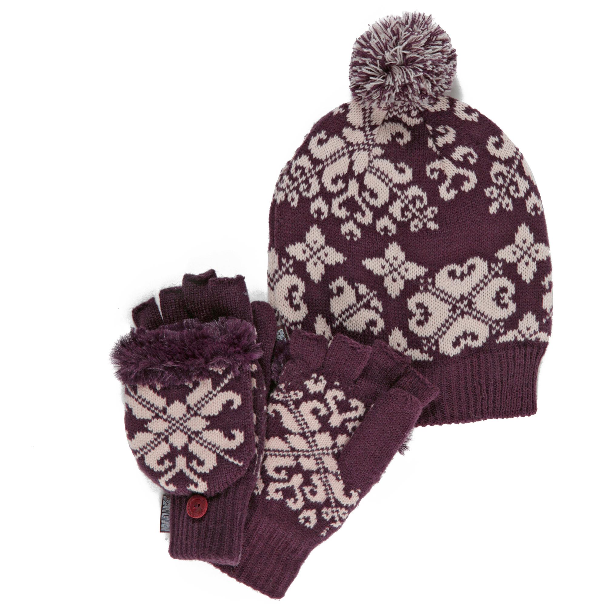 MUK LUKS Cuff Cap with Flip Gloves