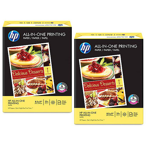 (2 Pack) HP Paper, All-in-One Printing Paper, 22 lb, Letter, 96 Bright, 500 Ct (207010)
