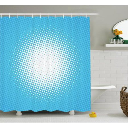 Vintage Blue Shower Curtain Retro Style Comic Inspired Pop Art And Sunny Haze Vanishing Dots Fabric Bathroom Set With Hooks 69w X 70l Inches Pale